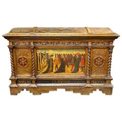 18th Century Italian Carved and Parcel-Gilt Trunk with Hand Painted Images