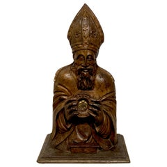 18th Century Italian Carved and Polychromed Reliquary of Pope Pius V