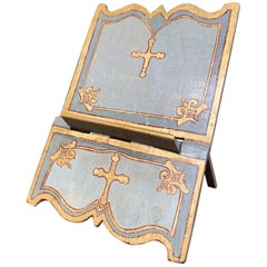 18th Century Italian Carved Giltwood and Painted Holy Bible Folding Book Stand