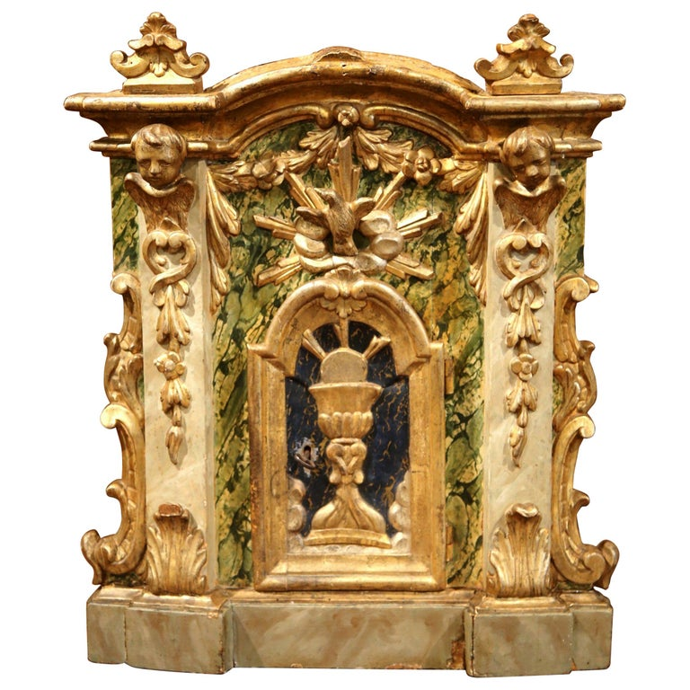 18th Century Italian Carved Giltwood and Polychrome Tabernacle Facade with Door For Sale