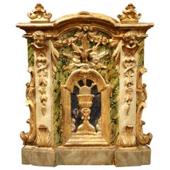 18th Century Italian Carved Giltwood and Polychrome Tabernacle Facade with Door