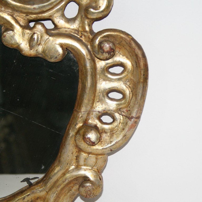 18th Century, Italian Carved Giltwood Baroque Mirror For Sale 1