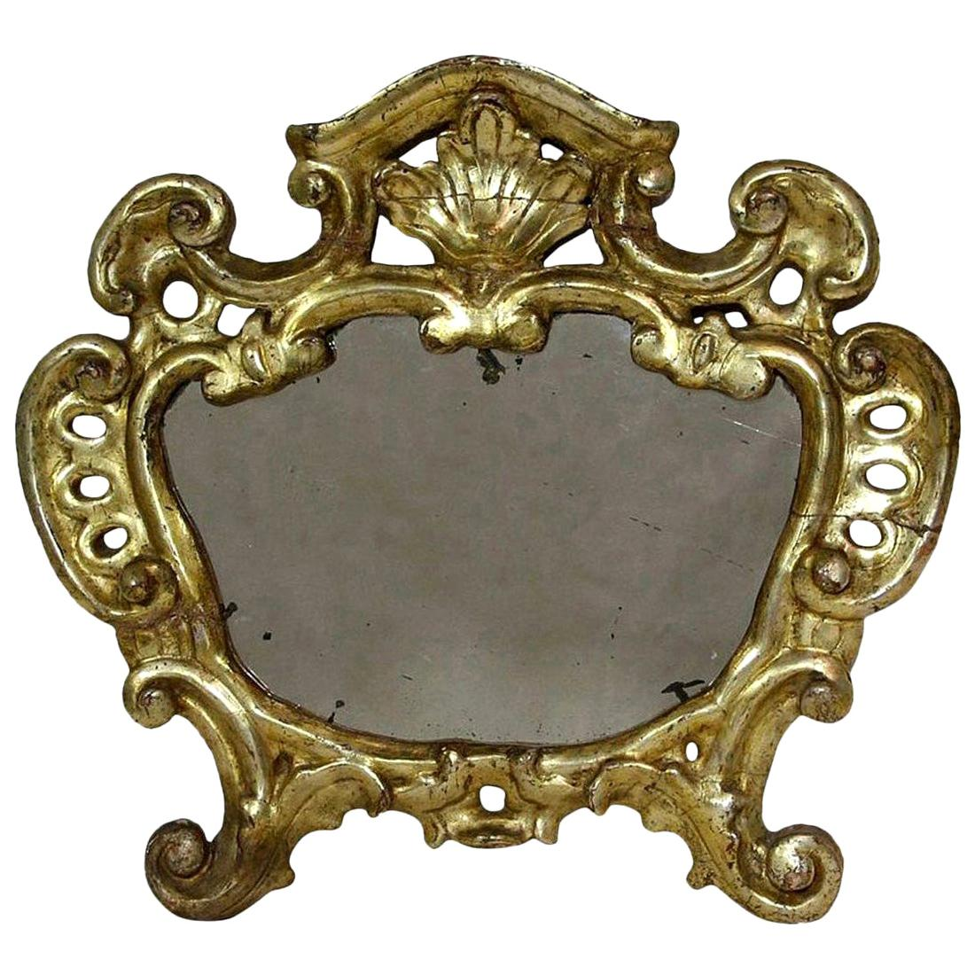 18th Century, Italian Carved Giltwood Baroque Mirror