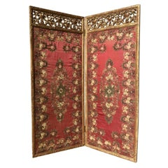 18th Century Italian Carved Giltwood Screen with Silk Needlework-Panels