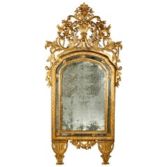 18th Century Italian Carved Mecca Mirror Double Frame with Mercury Mirror