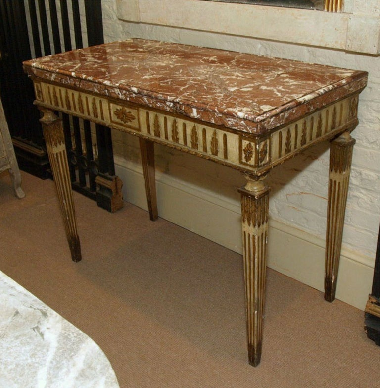 18th Century Italian Carved, Painted and Gilded Console, Sicilian Marble Top For Sale 7