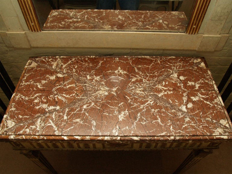 Carved, painted and gilded console table with Sicilian marble set