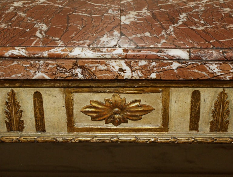 18th Century Italian Carved, Painted and Gilded Console, Sicilian Marble Top For Sale 3