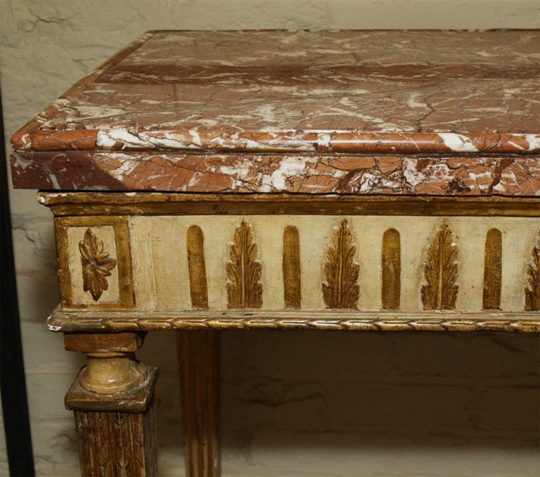 18th Century Italian Carved, Painted and Gilded Console, Sicilian Marble Top For Sale 4