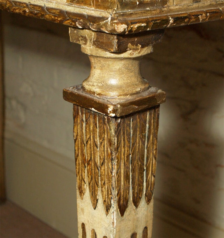 18th Century Italian Carved, Painted and Gilded Console, Sicilian Marble Top For Sale 5