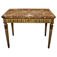 18th Century Italian Carved, Painted and Gilded Console, Sicilian Marble Top