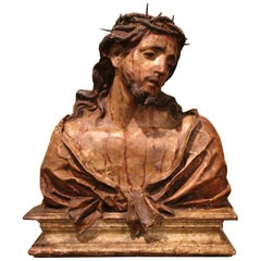 18th Century Italian Carved Paper Polychrome Mâché Christ Bust on Wooden Stand