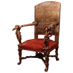 18th Century Italian Carved Walnut Armchair with Embossed Leather