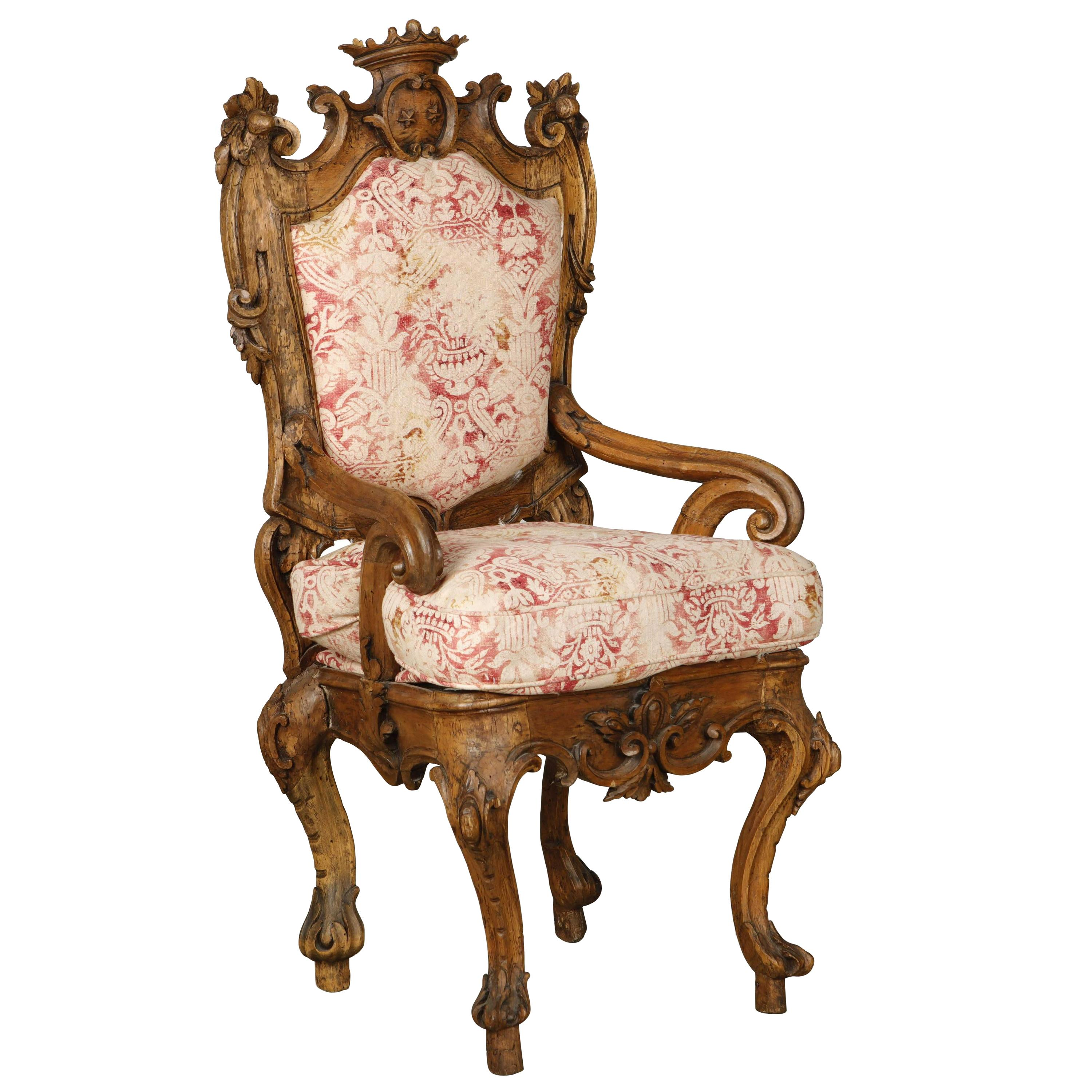 18th Century Italian Carved Walnut Crowned Armchair