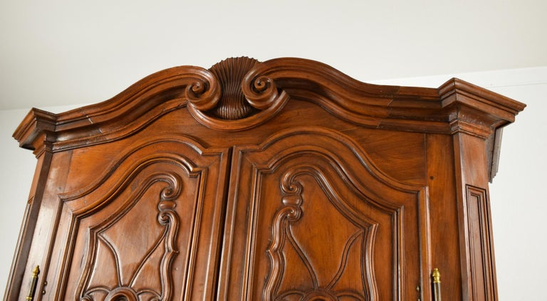 Hand-Carved 18th Century Italian Carved Walnut Wood Wardrobe  For Sale