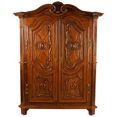 18th Century Italian Carved Walnut Wood Wardrobe
