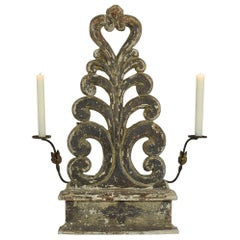 18th Century Italian Carved Wood Baroque Altar Ornament with Candleholders