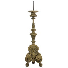 18th Century, Italian Carved Wood Baroque Candlestick with Angel Heads