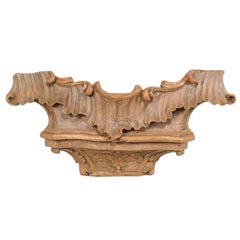 18th Century Italian Carved Wood Wall Plaque Fragment
