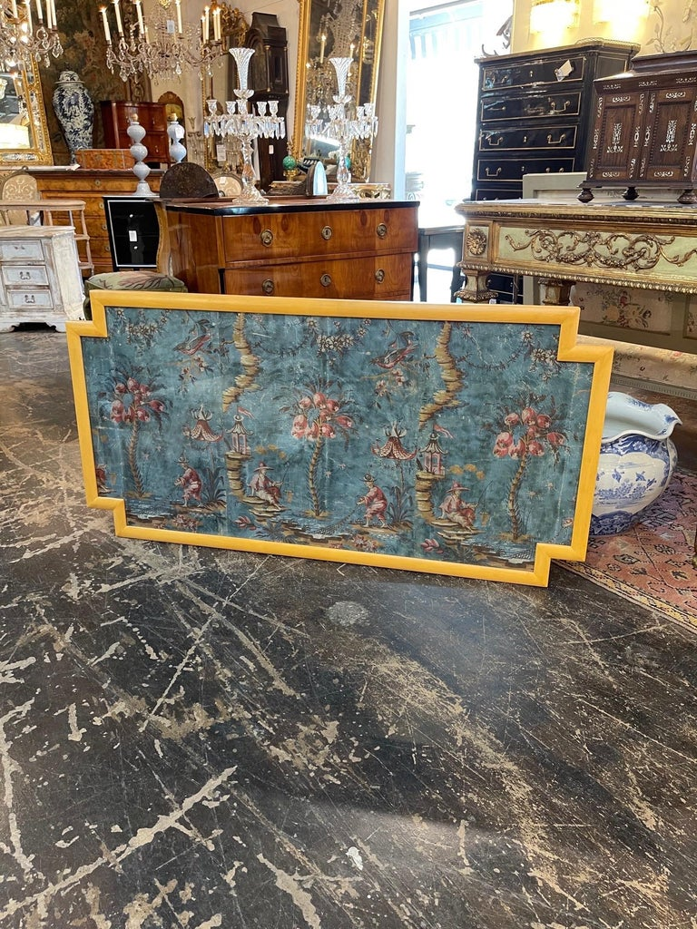 Lovely 18th century Italian painted panel featuring chinoiserie images. Vibrant colors of blue, pink, green and gold. Such an interesting piece and a true work of art.