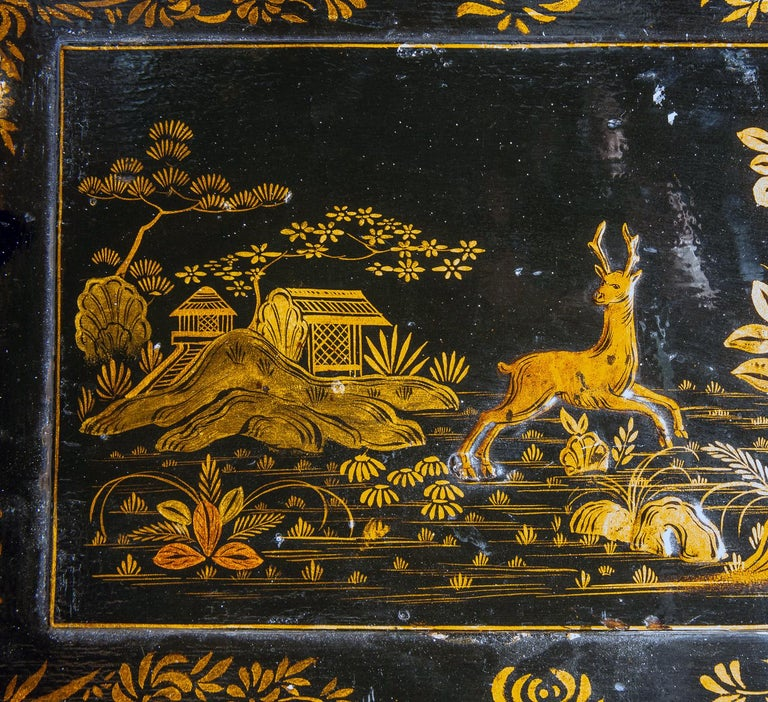 18th Century Italian Chinoiserie Lacquer Bureau Bookcase For Sale 5