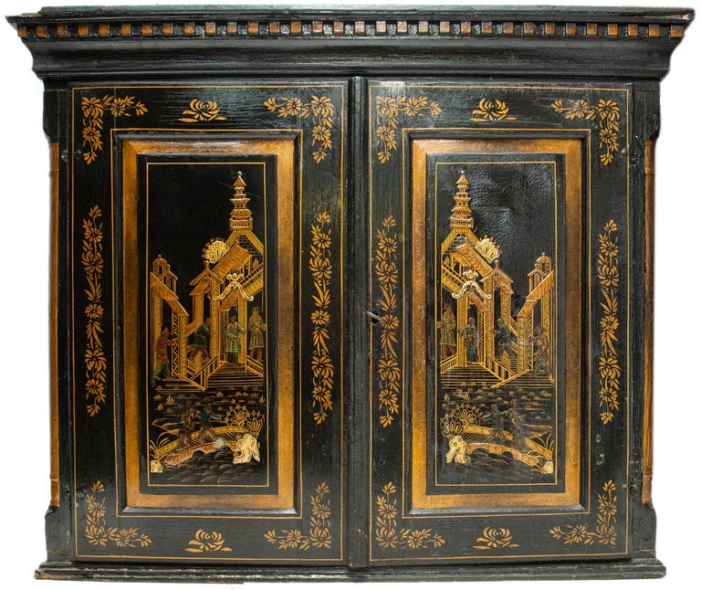 Hand-Painted 18th Century Italian Chinoiserie Lacquer Bureau Bookcase For Sale