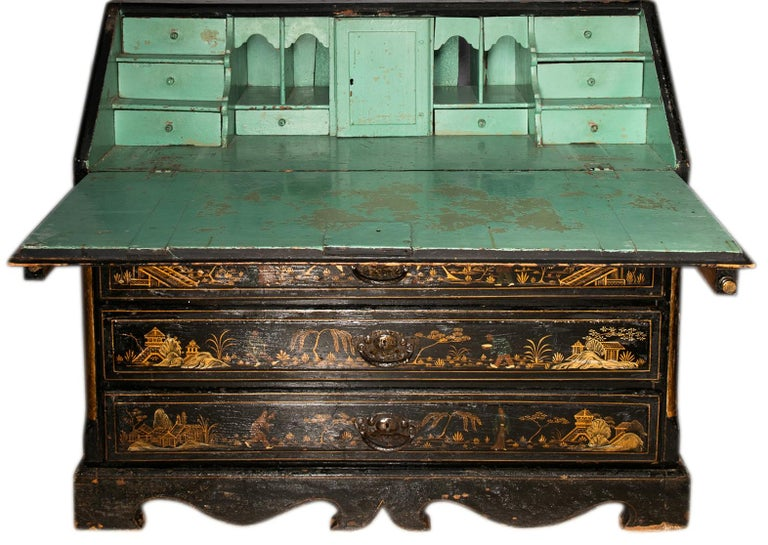 18th Century and Earlier 18th Century Italian Chinoiserie Lacquer Bureau Bookcase For Sale