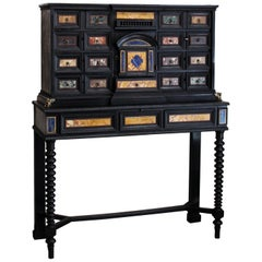18th Century Italian Classical Roman Marble and Pietra Dura Ebony Large Cabinet
