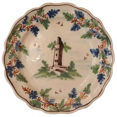 18th Century Italian Collectible Antique Painted Majolica Plate, 1750s