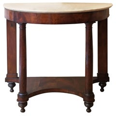 18th Century Italian Empire Console Table in Walnut Briar Root with Marble Top