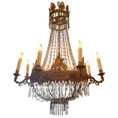 18th Century Italian Empire Style Gilt Bronze and Crystal Chandelier