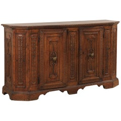 18th Century Italian Exquisitely Carved Walnut Wood Credenza Sideboard