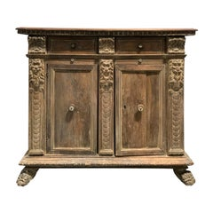 18th Century Italian Finely-Carved Credenza, Two Drawers, Two Slides, Two Doors