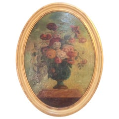 18th Century, Italian Floral Oil on Canvas