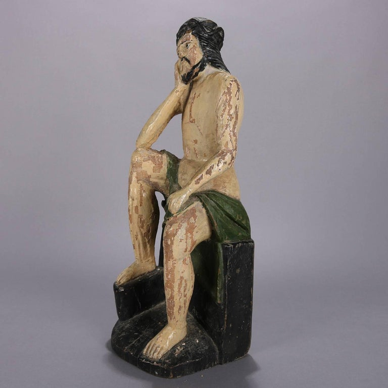 18th century Italian Folk Art portrait Santos religious Icon sculpture features polychromed wood carving of seated and pensive Jesus Christ.  Measures: 19.75