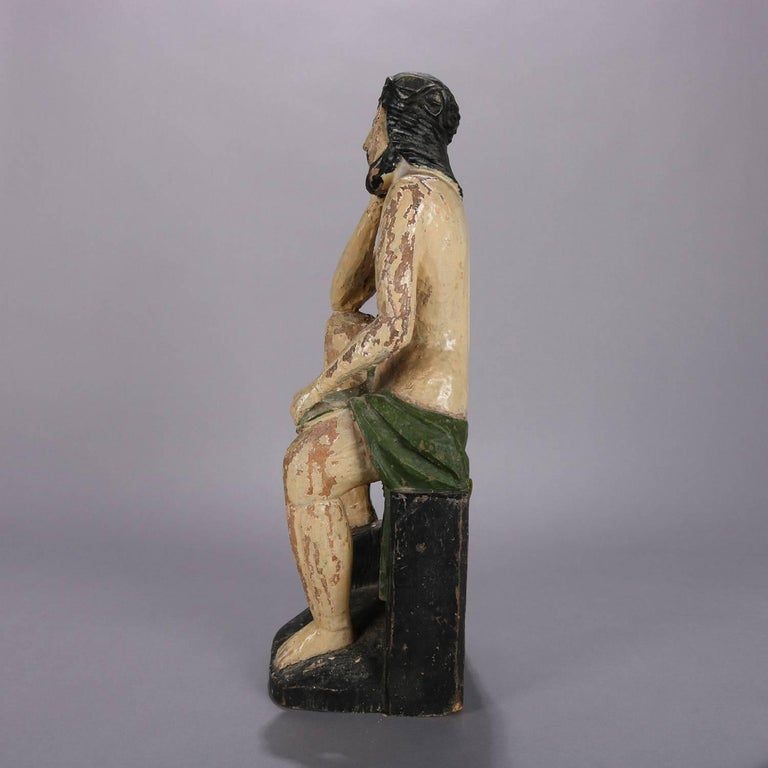 Hand-Carved 18th Century Italian Folk Art Figural Carved Wood Sculpture Icon of Jesus Christ For Sale