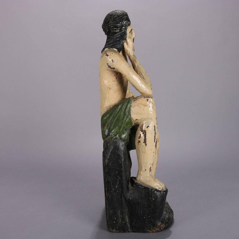 18th Century and Earlier 18th Century Italian Folk Art Figural Carved Wood Sculpture Icon of Jesus Christ For Sale