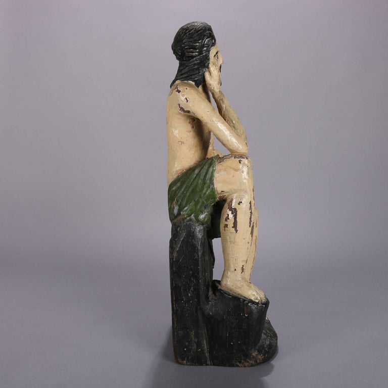 18th Century Italian Folk Art Figural Carved Wood Sculpture Icon of Jesus Christ For Sale 1