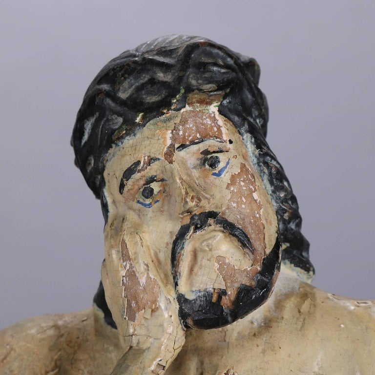 18th Century Italian Folk Art Figural Carved Wood Sculpture Icon of Jesus Christ For Sale 2