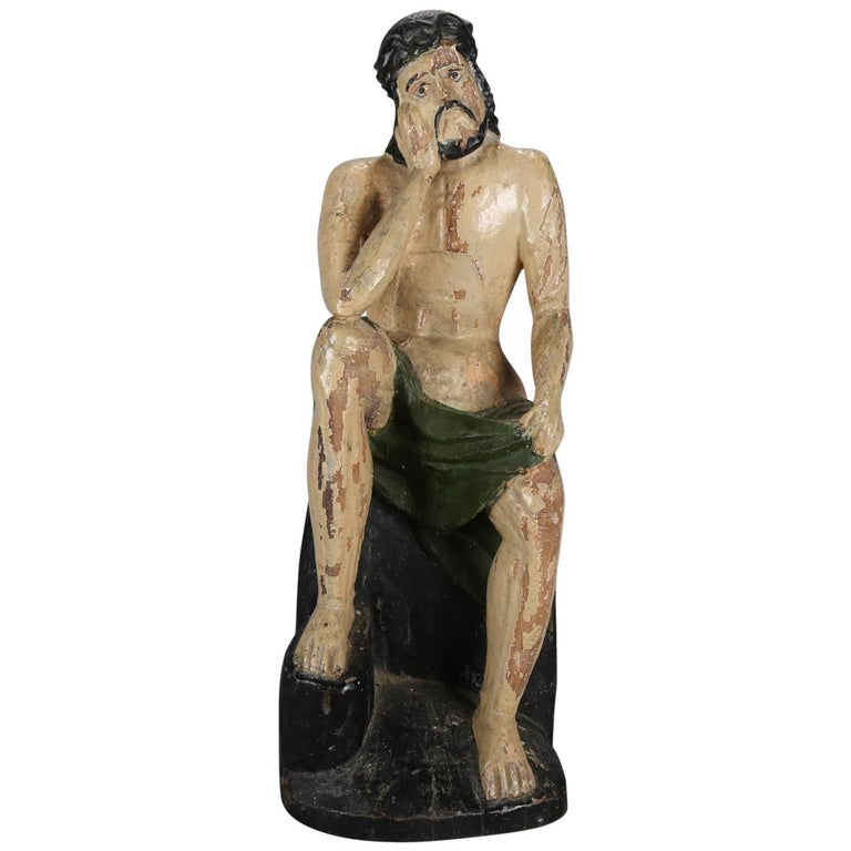 18th Century Italian Folk Art Figural Carved Wood Sculpture Icon of Jesus Christ For Sale