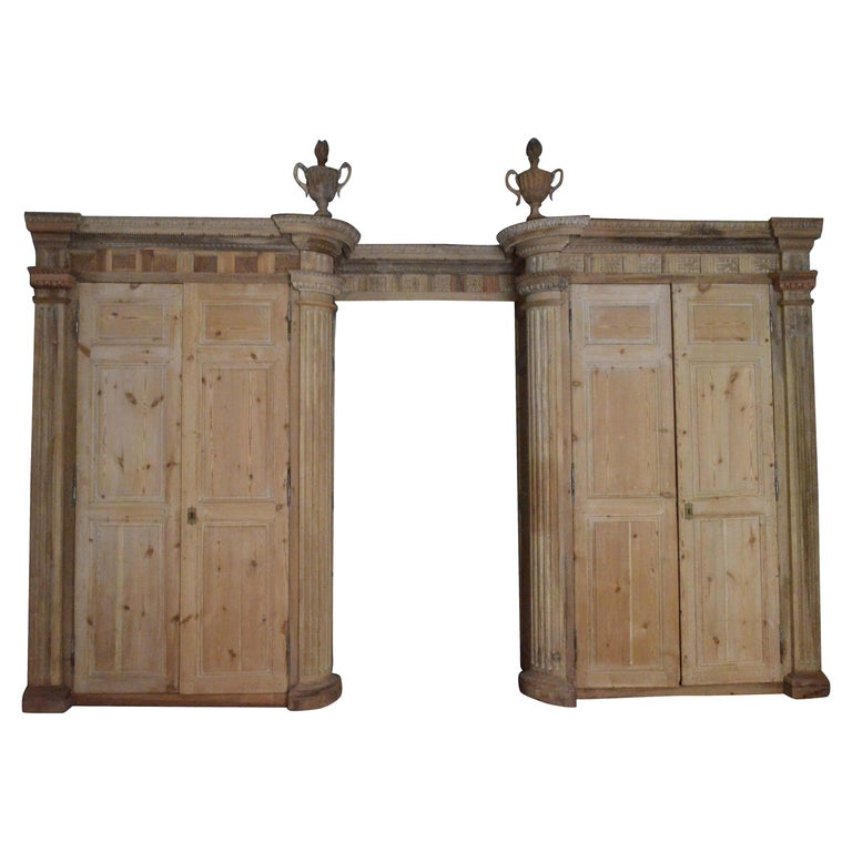 18th Century Italian Four Doors Wood Storage Cabinet Wardrobe Boiserie For Sale