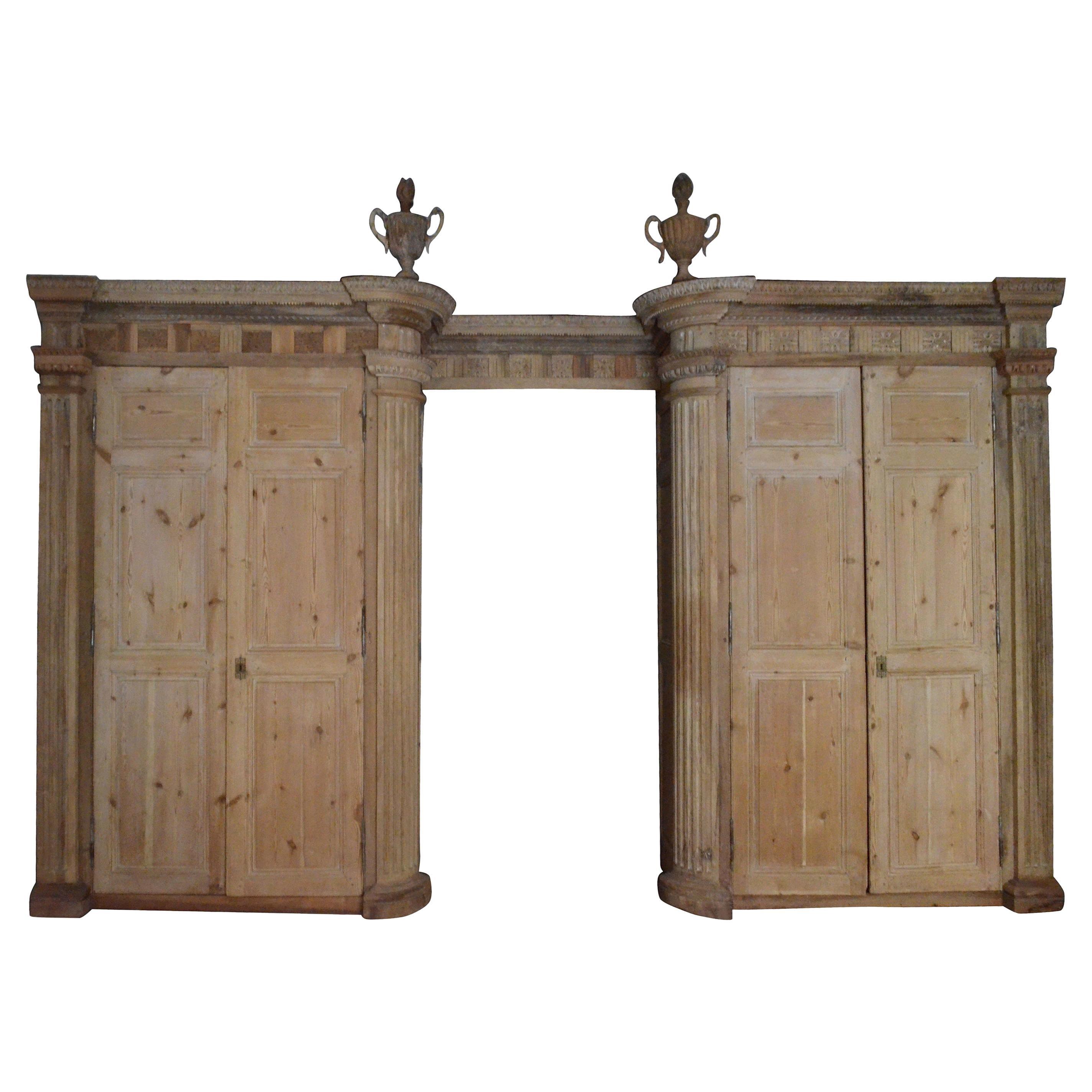 18th Century Italian Four Doors Wood Storage Cabinet Wardrobe Boiserie