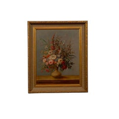 18th Century Italian Framed Painting of Vase and Flowers