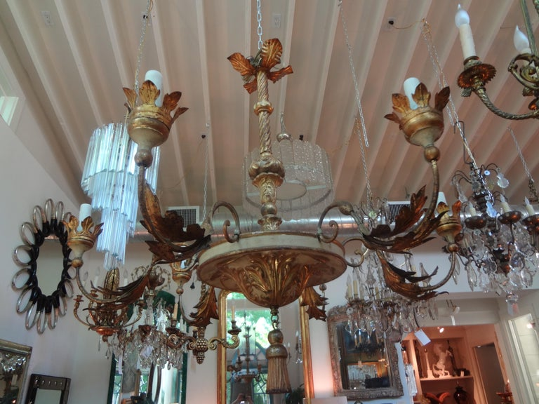 18th Century Italian Genovese Giltwood Chandelier For Sale 5