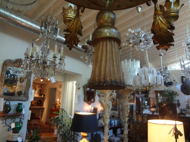 18th Century Italian Genovese Giltwood Chandelier In Good Condition For Sale In Houston, TX