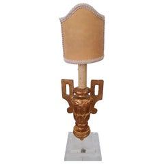 Antique Italian Gilded Candlestick Lamp