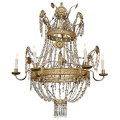 18th Century Italian Gilt Metal and Crystal Chandelier