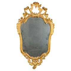 18th Century Italian Giltwood Mirror Louis XV with Mercury Plate