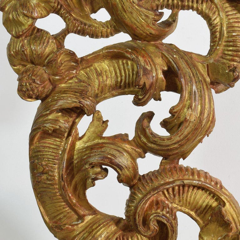 18th Century Italian Giltwood Baroque Curl Ornament For Sale 9