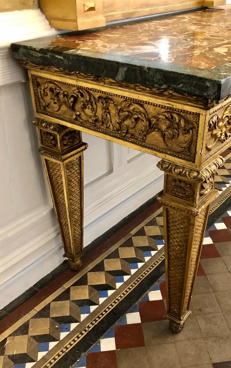 18th Century, Italian Giltwood Console Table with Original Marble Top For Sale 7